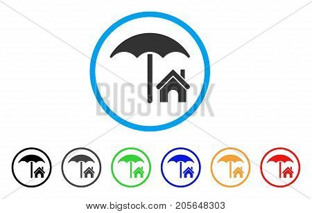 House Under Umbrella rounded icon. Style is a flat house under umbrella grey symbol inside light blue circle with black, gray, green, blue, red, orange variants.