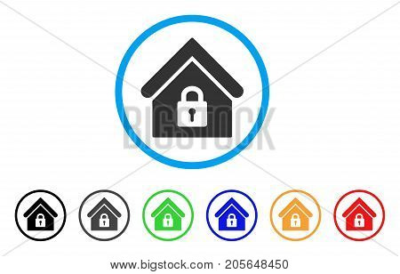 Lock Building rounded icon. Style is a flat lock building gray symbol inside light blue circle with black, gray, green, blue, red, orange versions. Vector designed for web and software interfaces.
