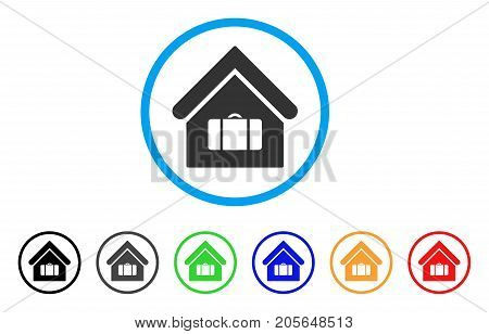 Luggage Room rounded icon. Style is a flat luggage room grey symbol inside light blue circle with black, gray, green, blue, red, orange color versions. Vector designed for web and software interfaces.