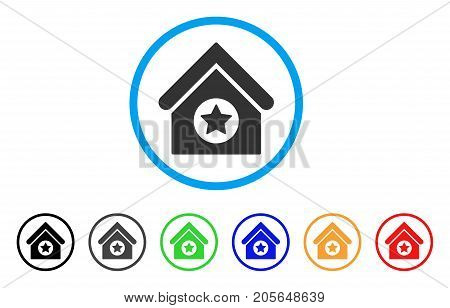 Military Building rounded icon. Style is a flat military building grey symbol inside light blue circle with black, gray, green, blue, red, orange versions.