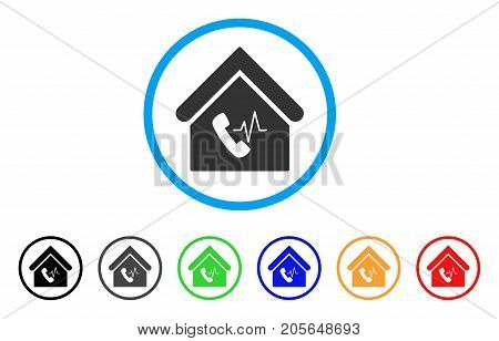 Phone Station Building rounded icon. Style is a flat phone station building gray symbol inside light blue circle with black, gray, green, blue, red, orange variants.