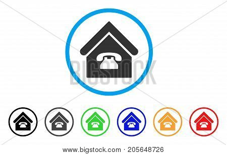 Phone Station rounded icon. Style is a flat phone station grey symbol inside light blue circle with black, gray, green, blue, red, orange versions. Vector designed for web and software interfaces.