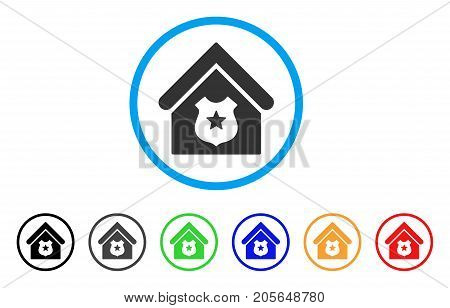Police Office rounded icon. Style is a flat police office grey symbol inside light blue circle with black, gray, green, blue, red, orange versions. Vector designed for web and software interfaces.