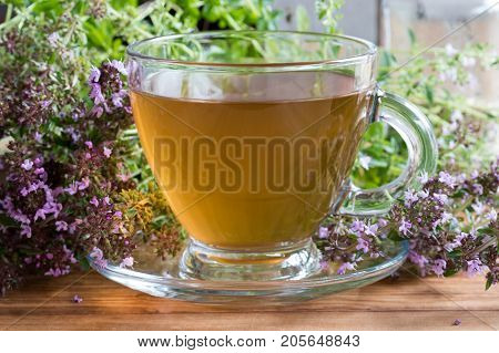A Cup Of Breckland Thyme Tea On A Wooden Table