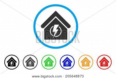 Power Supply Building rounded icon. Style is a flat power supply building gray symbol inside light blue circle with black, gray, green, blue, red, orange color versions.