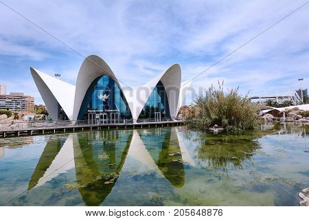 VALENCIA SPAIN - APRIL 04: City of the Arts and Sciences on April 04 2017 in Valencia Spain.