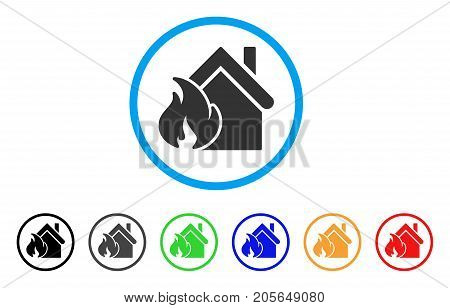 Realty Fire Disaster rounded icon. Style is a flat realty fire disaster grey symbol inside light blue circle with black, gray, green, blue, red, orange variants.