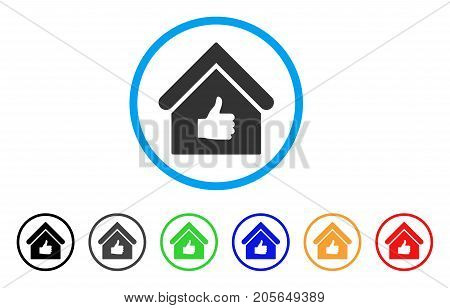 Thumb Up Building rounded icon. Style is a flat thumb up building grey symbol inside light blue circle with black, gray, green, blue, red, orange color versions.