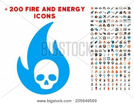 Hell Fire pictograph with bonus power symbols. Vector illustration style is flat iconic symbols for web design, application ui.