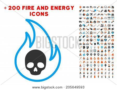 Hell Fire pictograph with bonus fire pictograms. Vector illustration style is flat iconic symbols for web design, application user interface.