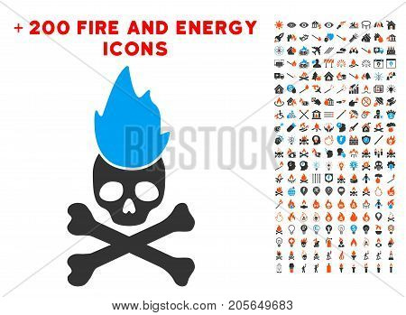 Hell Fire pictograph with bonus flame clip art. Vector illustration style is flat iconic elements for web design, application user interface.