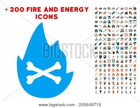 Hellfire Flame icon with bonus fire clip art. Vector illustration style is flat iconic elements for web design, app user interface.