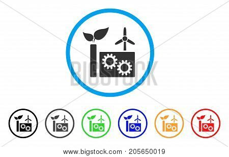 Eco Plant rounded icon. Style is a flat eco plant grey symbol inside light blue circle with black, gray, green, blue, red, orange versions. Vector designed for web and software interfaces.