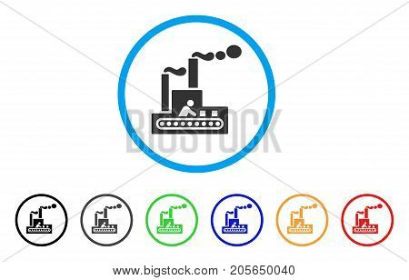 Fabric Building rounded icon. Style is a flat fabric building gray symbol inside light blue circle with black, gray, green, blue, red, orange color versions.