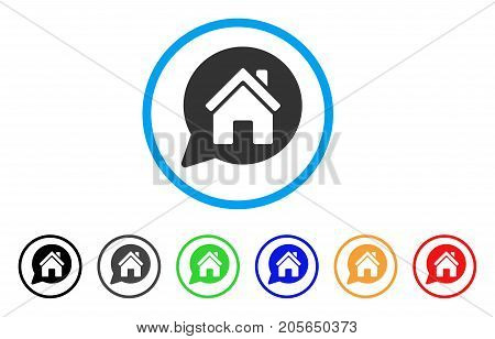 House Mention rounded icon. Style is a flat house mention grey symbol inside light blue circle with black, gray, green, blue, red, orange variants. Vector designed for web and software interfaces.