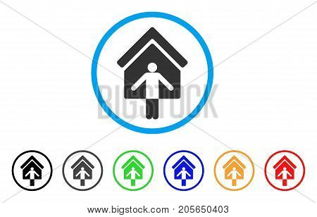 House Owner Wellcome rounded icon. Style is a flat House owner wellcome gray symbol inside light blue circle with black, gray, green, blue, red, orange variants.