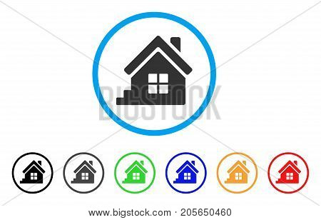House Porch rounded icon. Style is a flat house porch gray symbol inside light blue circle with black, gray, green, blue, red, orange variants. Vector designed for web and software interfaces.