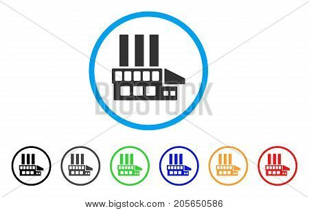Industrial Building rounded icon. Style is a flat industrial building grey symbol inside light blue circle with black, gray, green, blue, red, orange variants.