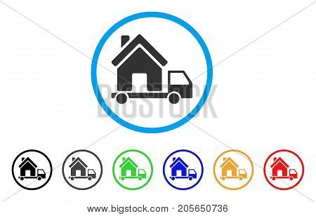 Mobile House rounded icon. Style is a flat mobile house grey symbol inside light blue circle with black, gray, green, blue, red, orange variants. Vector designed for web and software interfaces.