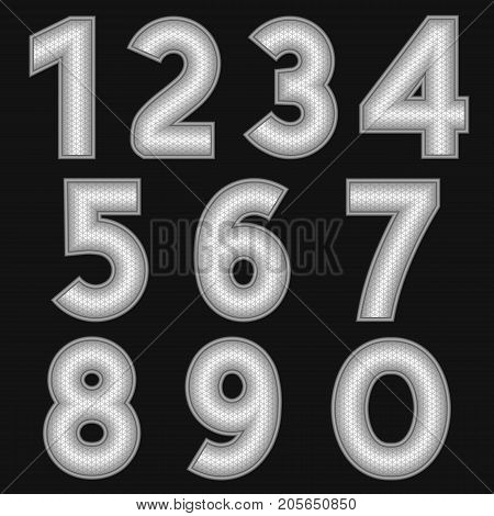 A complete set of metal numbers with a relief surface. The edges of the numbers are made with thin wire. Font is isolated by a black background. Letters are made in 3D shapes. Vector illustration.