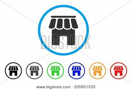 Shop Building rounded icon. Style is a flat shop building grey symbol inside light blue circle with black, gray, green, blue, red, orange versions. Vector designed for web and software interfaces.
