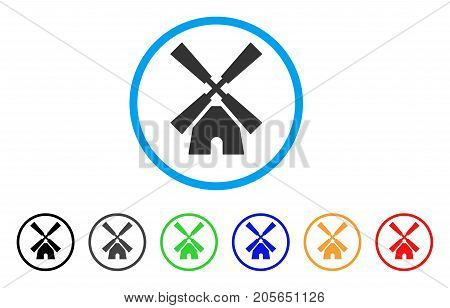 Wind Mill rounded icon. Style is a flat wind mill grey symbol inside light blue circle with black, gray, green, blue, red, orange variants. Vector designed for web and software interfaces.