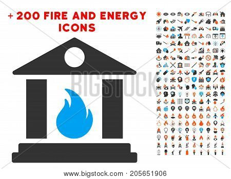 Sacrificial Temple Fire pictograph with bonus energy symbols. Vector illustration style is flat iconic symbols for web design, app ui.