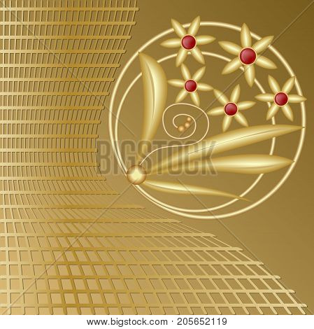 Gold decoration with flower motif jewel and golden grid on background, luxurious decorative design element, vector EPS 10