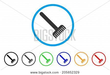 Broom rounded icon. Style is a flat broom gray symbol inside light blue circle with black, gray, green, blue, red, orange color versions. Vector designed for web and software interfaces.