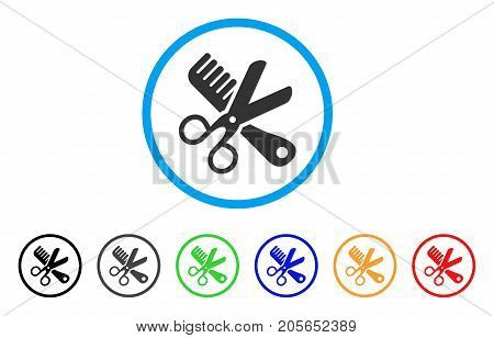Comb And Scissors Tools rounded icon. Style is a flat comb and scissors tools grey symbol inside light blue circle with black, gray, green, blue, red, orange versions.