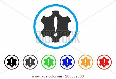 Danger rounded icon. Style is a flat danger grey symbol inside light blue circle with black, gray, green, blue, red, orange color versions. Vector designed for web and software interfaces.