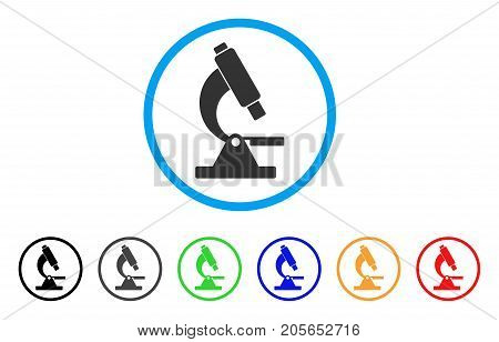 Microscope rounded icon. Style is a flat microscope gray symbol inside light blue circle with black, gray, green, blue, red, orange color versions. Vector designed for web and software interfaces.