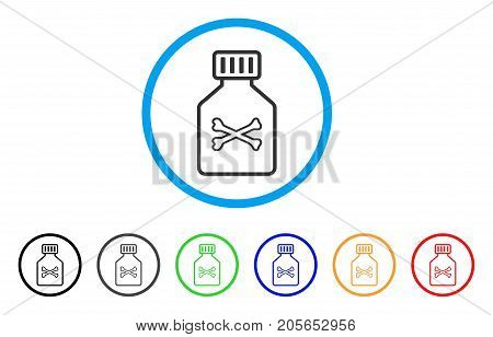 Poison Vial rounded icon. Style is a flat poison vial grey symbol inside light blue circle with black, gray, green, blue, red, orange variants. Vector designed for web and software interfaces.