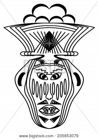 Ritual face monochrome drawing. Horrible face with slanted eyes and bared teeth, curiosum hat on head. Ornamental symmetric sketch in black and white, tribal ancient face mask. Vector EPS 10