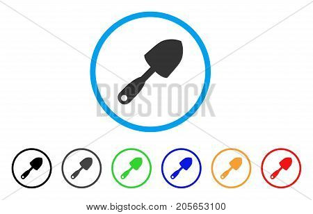 Scoop Shovel rounded icon. Style is a flat scoop shovel gray symbol inside light blue circle with black, gray, green, blue, red, orange versions. Vector designed for web and software interfaces.