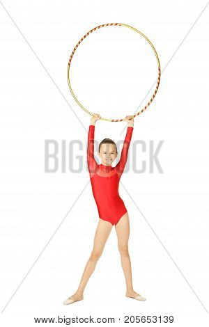 Young Girl Gymnast With Hoop On White Background