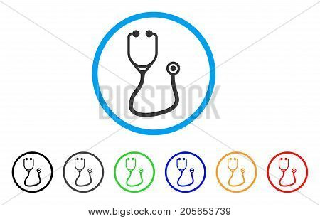 Stethoscope rounded icon. Style is a flat stethoscope gray symbol inside light blue circle with black, gray, green, blue, red, orange versions. Vector designed for web and software interfaces.