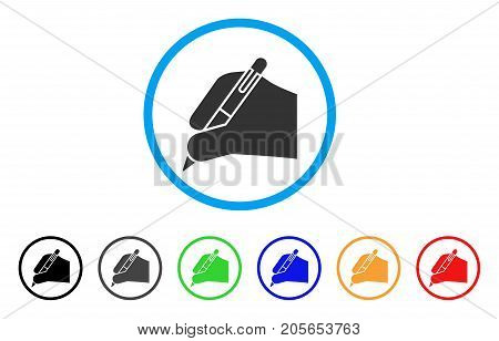 Subscribe Hand rounded icon. Style is a flat subscribe hand grey symbol inside light blue circle with black, gray, green, blue, red, orange variants. Vector designed for web and software interfaces.