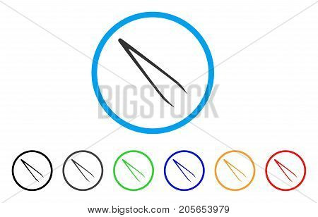 Tweezers rounded icon. Style is a flat tweezers grey symbol inside light blue circle with black, gray, green, blue, red, orange variants. Vector designed for web and software interfaces.
