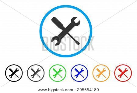 Wrench And Screwdriver Tools rounded icon. Style is a flat wrench and screwdriver tools gray symbol inside light blue circle with black, gray, green, blue, red, orange variants.