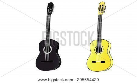 Two classical six-string acoustic guitars. Black and yellow