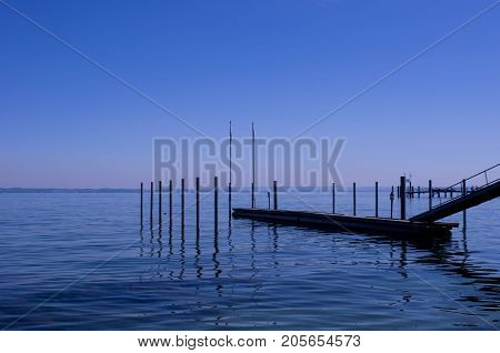 Beautiful lake constance in Bodensee on a sunny day in summer