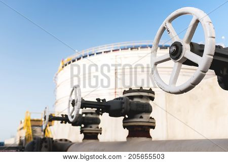 Close Up View Of A Valve At A Petroleum Refinery Facility