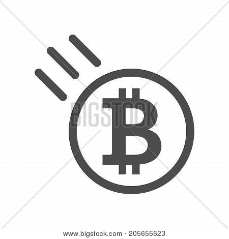 Bitcoin sign icon - price go down and falling. Crypto currency symbol and coin image for using in web or mobile applications. Blockchain based secure cryptocurrency. Isolated vector illustration.