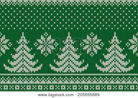 Winter Holiday Seamless Knitted Pattern with a Christmas Trees. Knitting Sweater Design. Wool Knit Texture