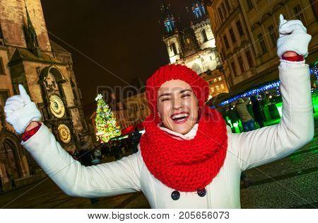 Tourist Woman At Christmas In Prague Czech Republic Rejoicing