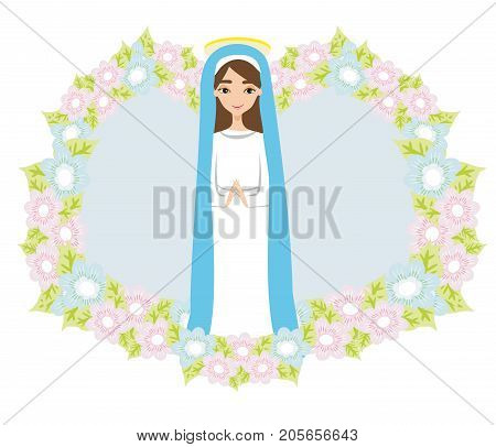Holy Mary in frame icon , vector illustration