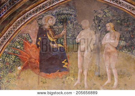 Fresco In San Gimignano - Jesus, Adam And Eve In The Garden Of Eden
