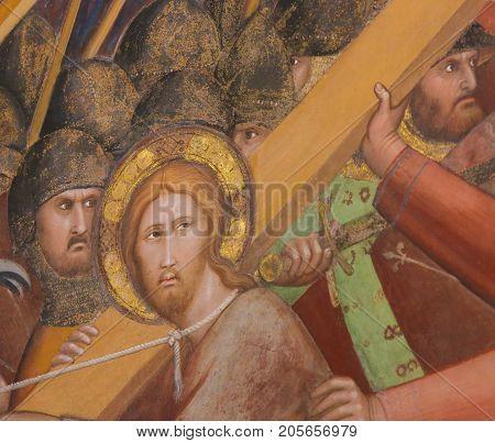 Fresco In San Gimignano - Jesus On The Via Dolorosa