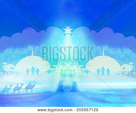 Biblical scene - birth of Jesus in Bethlehem , raster